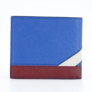 PRADA 普拉达蓝白条纹牛皮短款对折钱包