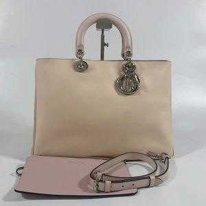 Dior 迪奥奶茶拼香芋色全皮子母VIP戴妃手提包