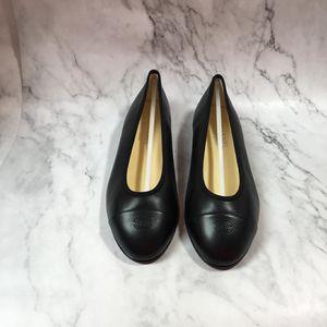 CHANEL 香奈儿黑色全皮平底鞋