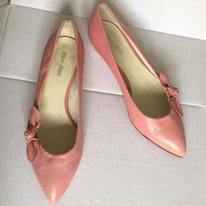 Miu Miu 缪缪裸粉色豆沙色少女气质低跟鞋