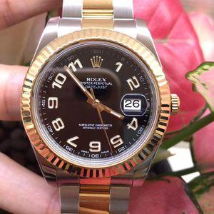 Rolex 劳力士日志型系列116333阿拉伯数字黑盘8k黄金间金自动机械男表