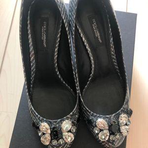 DOLCE&GABBANA 杜嘉班纳水晶装饰中跟鞋