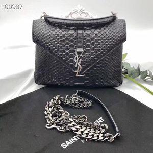 Yves Saint Laurent 伊夫·圣罗兰蛇皮黑色经典邮差链条单肩斜挎包