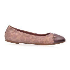 COACH 蔻驰女士棕色PVC拼皮印花浅口平跟鞋