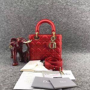 Dior 迪奥西瓜红羊皮四格戴妃包菱格女士手提单肩斜挎包