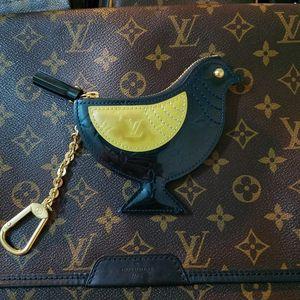 Louis Vuitton 路易·威登漆皮老花鸡零钱包钥匙扣挂饰