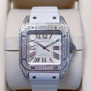 Cartier 卡地亚中号桑托斯后镶钻女士自动机械腕表