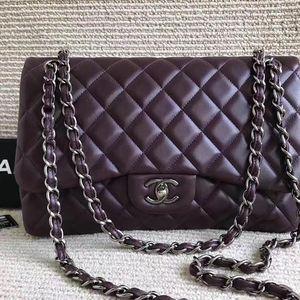 CHANEL 香奈儿紫色全皮链条包