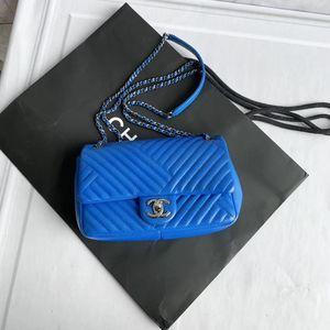 CHANEL 香奈儿蓝色斜纹链条包