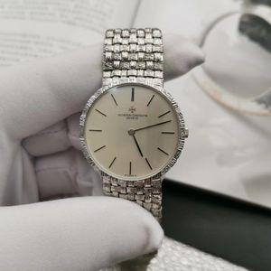 Vacheron Constantin 江诗丹顿18k白金手动机械手表