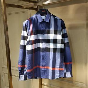 Burberry 博柏利新款蓝色格纹男士长袖衬衫