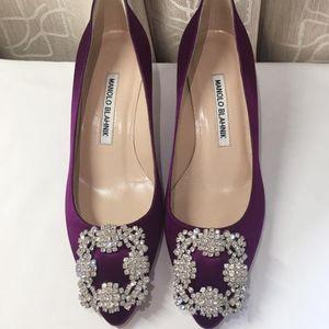 Manolo Blahnik 马诺洛紫色方扣带钻高跟鞋