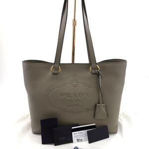 PRADA 普拉达全皮珊瑚灰手提包
