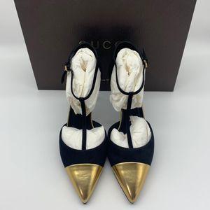 GUCCI 古驰金色鞋头麂皮小跟鞋