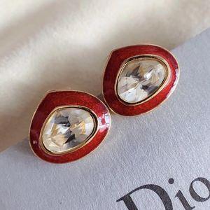 Dior 迪奥红珐琅耳钉
