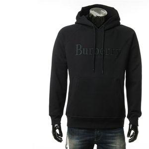 Burberry 博柏利黑色字母logo刺绣男士连帽卫衣外套
