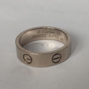 Cartier 卡地亚57号白金宽版戒指