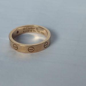 Cartier 卡地亚53号玫瑰金单钻戒指