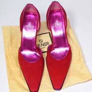 FENDI 芬迪时尚特别绒面真皮高跟鞋