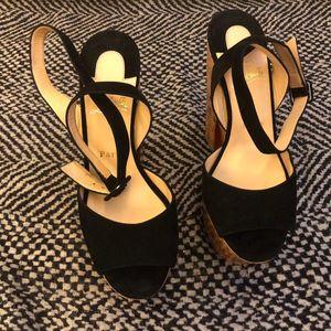 Christian Louboutin 克里斯提·鲁布托木质粗跟厚底脚踝绑带翻毛皮超高跟女鞋