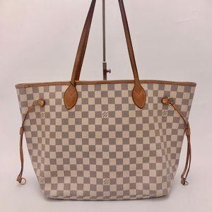 Louis Vuitton 路易·威登白棋盘格nf中号购物袋托特包
