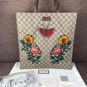 GUCCI 古驰蝴蝶花卉刺绣购物袋