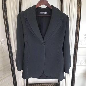 ARMANI 阿玛尼黑白色条纹时装西装套装