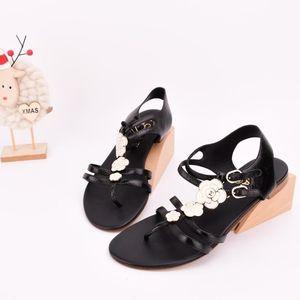 CHANEL 香奈儿黑色山茶花凉鞋