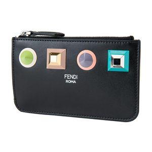 FENDI 芬迪女士时尚铆钉拉链卡包钥匙零钱包