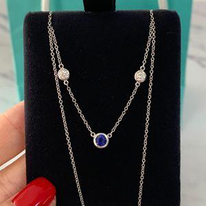 Tiffany & Co. 蒂芙尼elsa系列pt950铂金镶蓝宝石项链