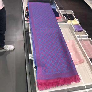GUCCI 古驰桃红色拼电光蓝围巾