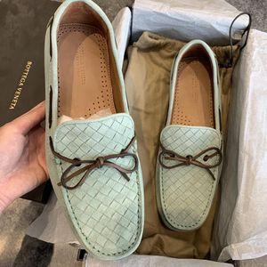 Bottega Veneta 葆蝶家经典款草绿色编织平底鞋