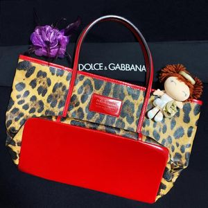 DOLCE&GABBANA 杜嘉班纳经典豹纹拼中国红漆皮托特手提单肩包