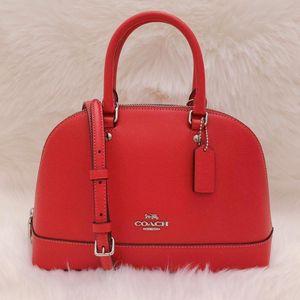 COACH 蔻驰红色真牛皮贝壳手提包