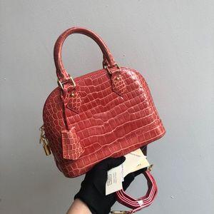 Louis Vuitton 路易·威登alma bb鳄鱼蜜桃粉橘手提单肩斜挎包