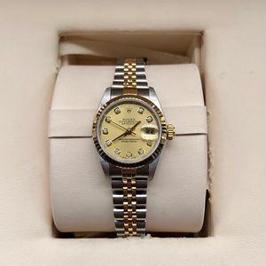 Rolex劳力士日志型69173香槟金盘大包钻女士机械腕表