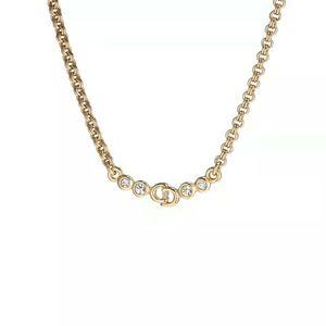 Dior 迪奥镶钻字母logo复古镀金项链