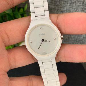 RADO 雷达真系列超薄白陶瓷女士石英腕表