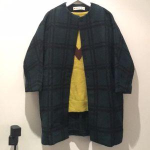 Marni 玛尼羊毛廓形格子大衣
