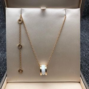 BVLGARI 宝格丽B.zero1 系列 18K玫瑰金白陶瓷弹簧项链