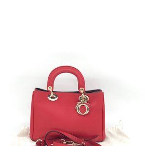 Dior 迪奥红色牛皮单肩手提包