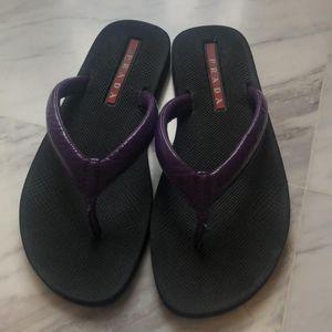 PRADA 普拉达紫色皮质黑底凉鞋