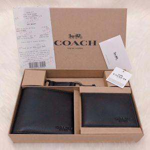 COACH 蔻驰男士黑色纯牛皮礼盒套装钱包
