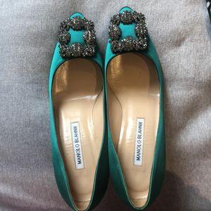 Manolo Blahnik 马诺洛绿色经典款灰钻高跟鞋