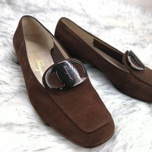 Ferragamo 菲拉格慕深咖麂皮女士低跟鞋