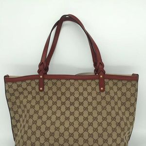 GUCCI 古驰咖色单宁布配砖红色购物袋