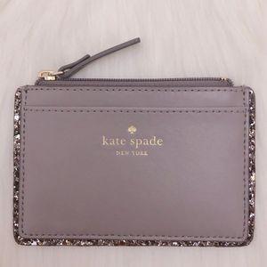 Kate Spade 凯特·丝蓓大象灰纯牛皮璀璨系列卡包零钱包