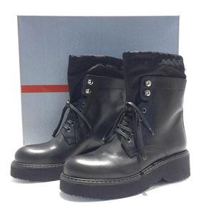 PRADA 普拉达高帮系带马丁靴