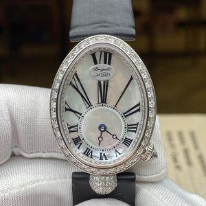 Breguet 宝玑那不勒斯皇后系列8928BB 18k白金材质原镶钻白色珍珠机械腕表