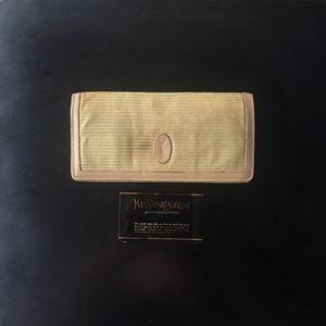 Saint Laurent Paris 圣罗兰条纹布料配纯皮两折长款钱包